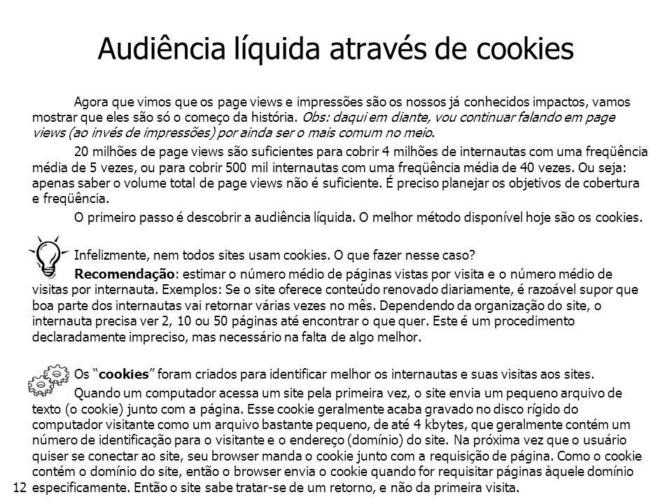 Audiência líquida através de cookies
