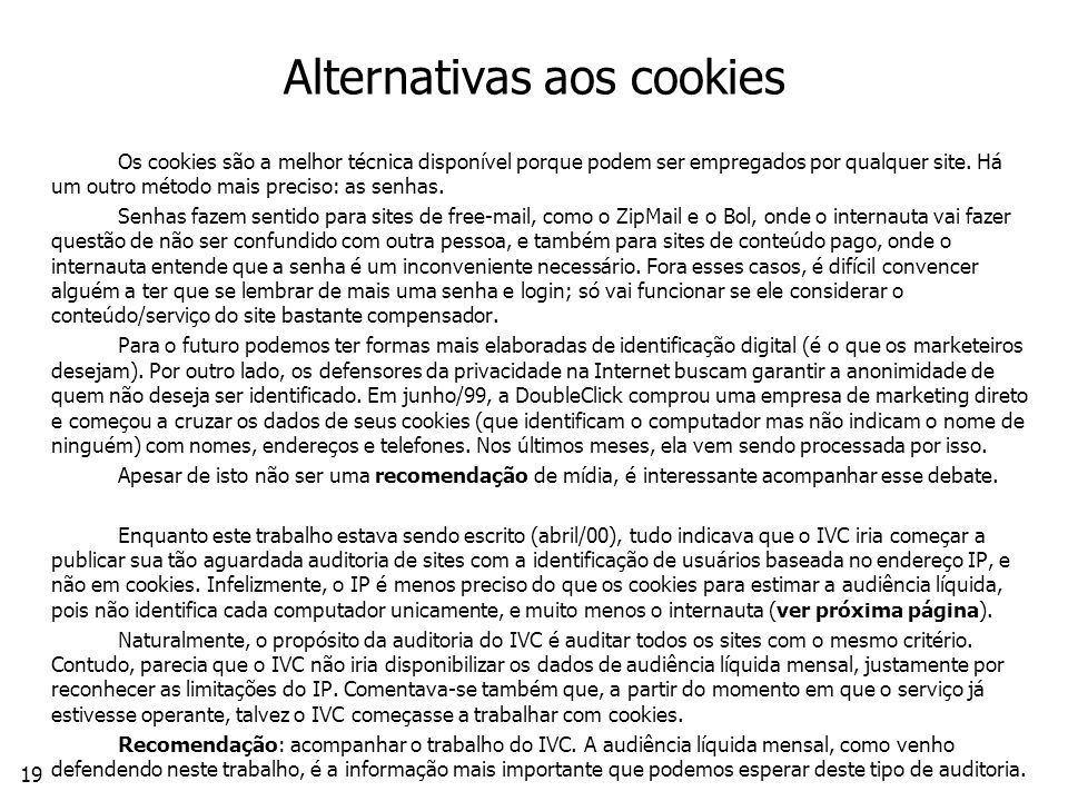 Alternativas aos cookies