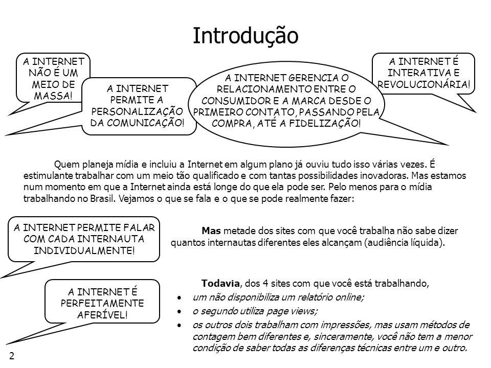 Introdução A INTERNET NÃO É UM MEIO DE MASSA!