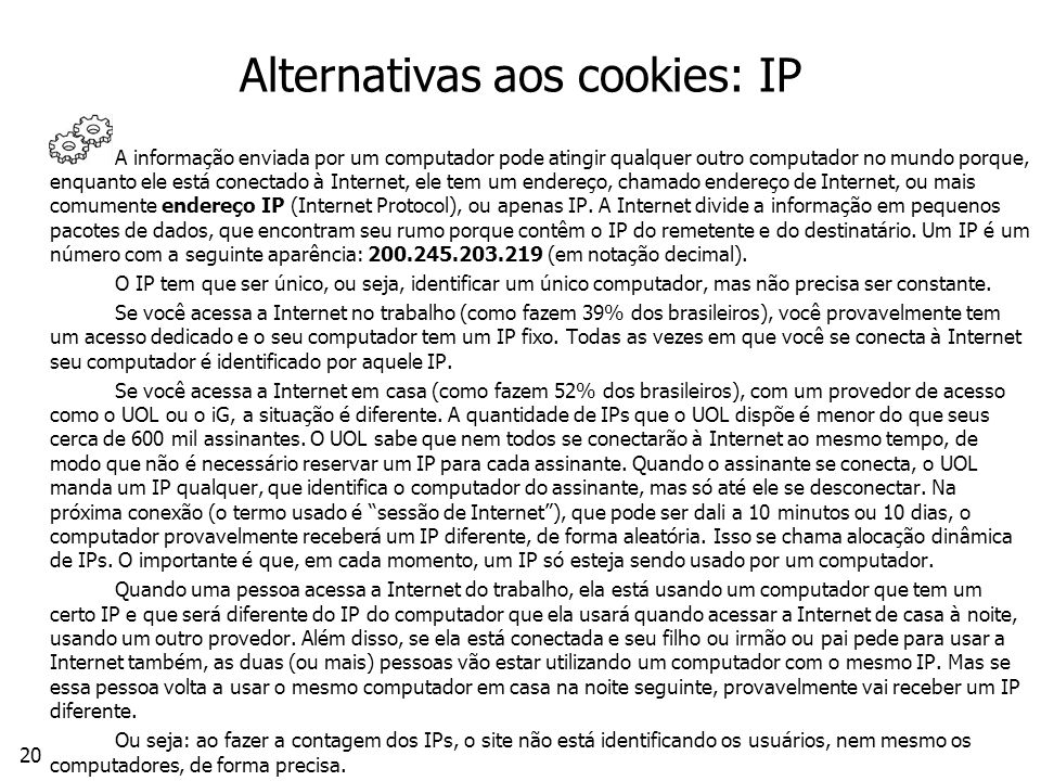 Alternativas aos cookies: IP