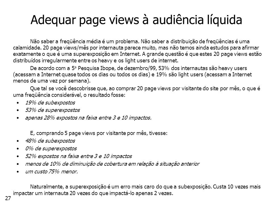 Adequar page views à audiência líquida