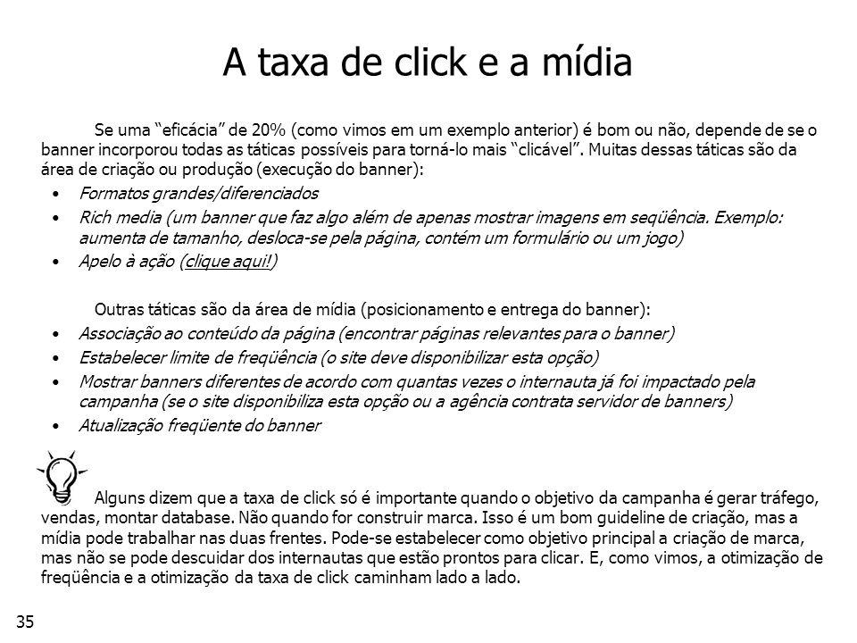 A taxa de click e a mídia