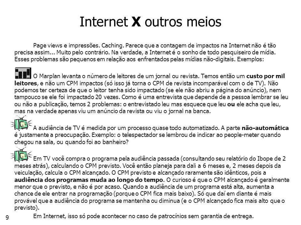 Internet X outros meios