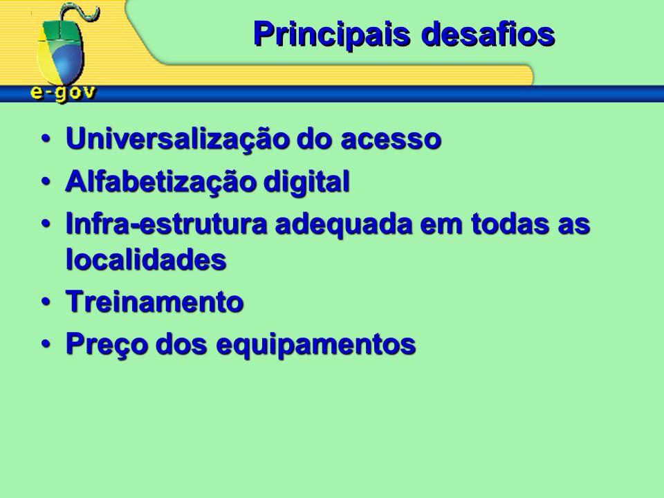 Principais desafios Universalização do acesso Alfabetização digital