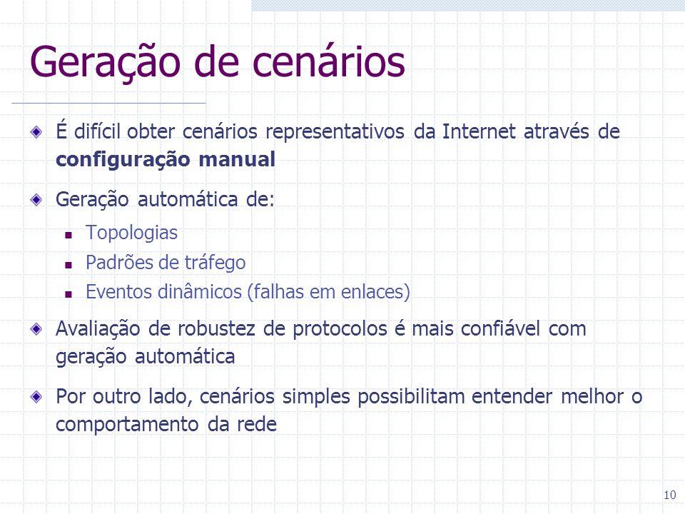 Geração de cenários É difícil obter cenários representativos da Internet através de configuração manual.