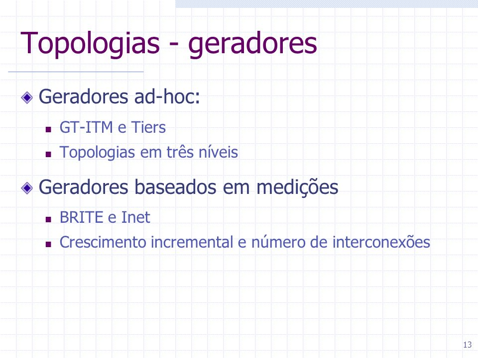 Topologias - geradores