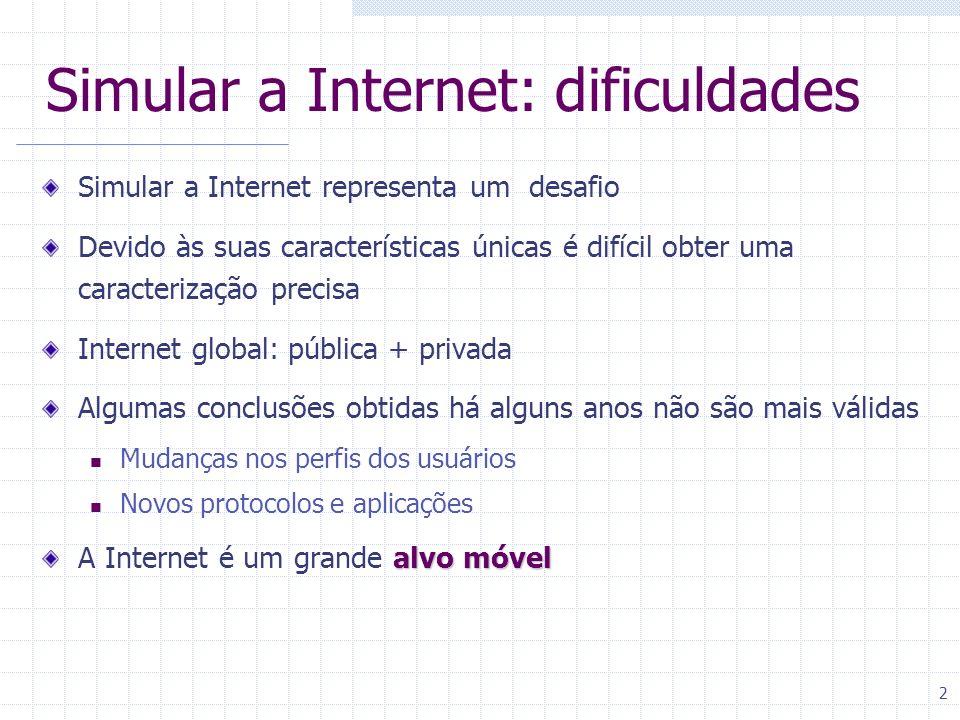 Simular a Internet: dificuldades