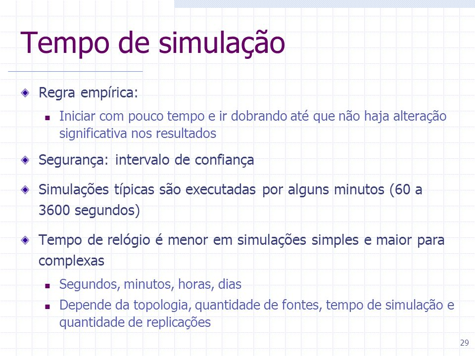 Tempo de simulação Regra empírica: Segurança: intervalo de confiança