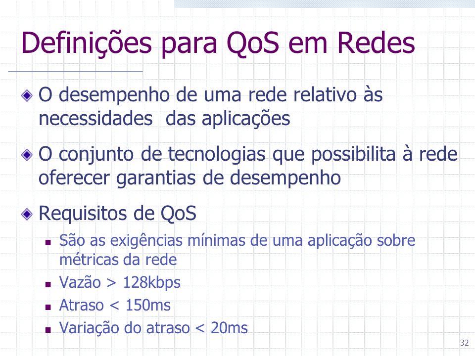 Definições para QoS em Redes