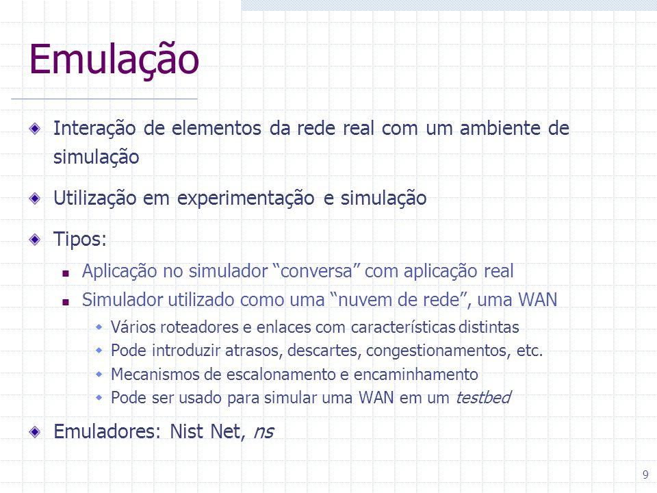 Emulação Interação de elementos da rede real com um ambiente de simulação. Utilização em experimentação e simulação.