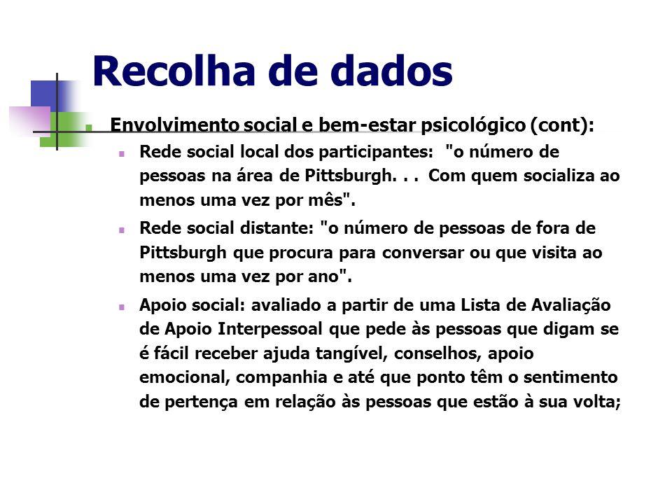Recolha de dados Envolvimento social e bem-estar psicológico (cont):