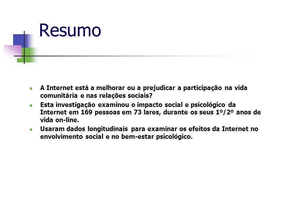 Resumo A Internet está a melhorar ou a prejudicar a participação na vida comunitária e nas relações sociais