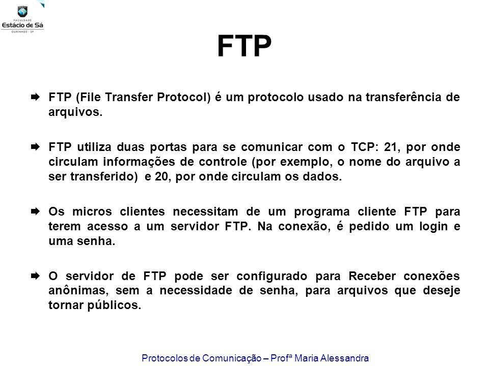 FTP FTP (File Transfer Protocol) é um protocolo usado na transferência de arquivos.