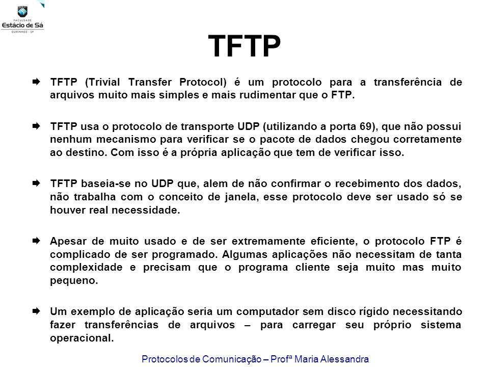TFTP TFTP (Trivial Transfer Protocol) é um protocolo para a transferência de arquivos muito mais simples e mais rudimentar que o FTP.