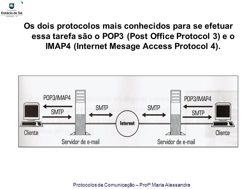 Os dois protocolos mais conhecidos para se efetuar essa tarefa são o POP3 (Post Office Protocol 3) e o IMAP4 (Internet Mesage Access Protocol 4).