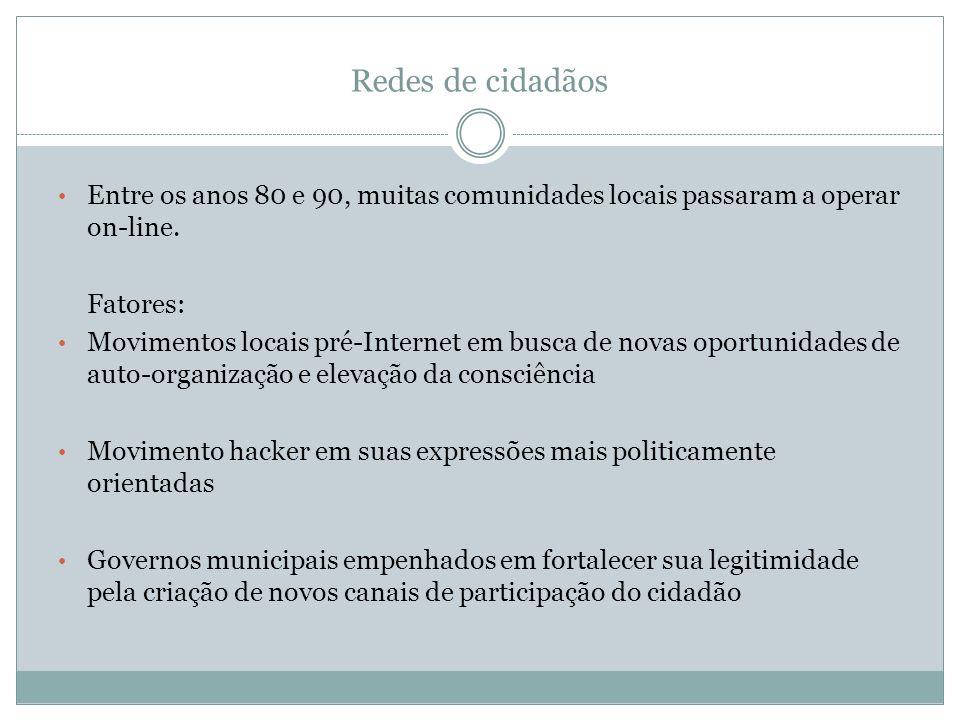 Redes de cidadãos Entre os anos 80 e 90, muitas comunidades locais passaram a operar on-line. Fatores: