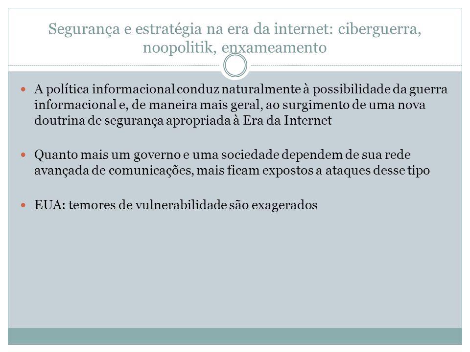 Segurança e estratégia na era da internet: ciberguerra, noopolitik, enxameamento