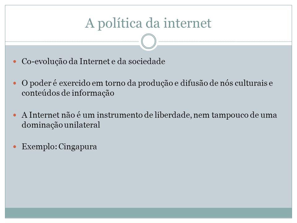 A política da internet Co-evolução da Internet e da sociedade