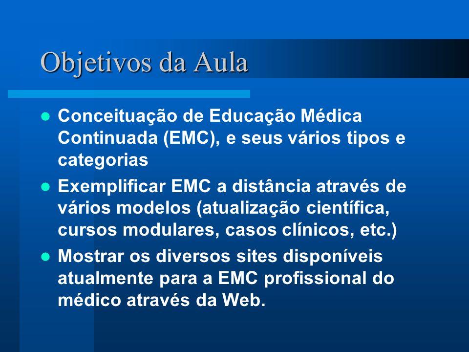 Objetivos da Aula Conceituação de Educação Médica Continuada (EMC), e seus vários tipos e categorias.