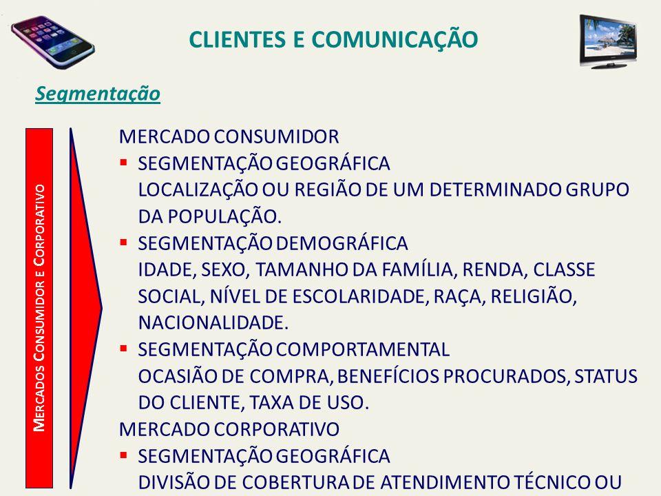 CLIENTES E COMUNICAÇÃO Mercados Consumidor e Corporativo