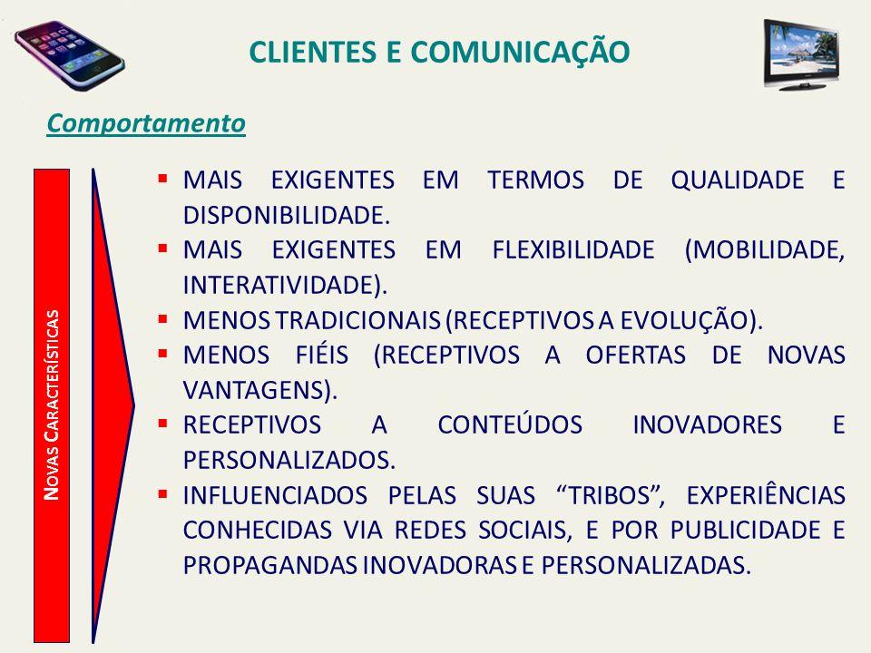 CLIENTES E COMUNICAÇÃO Novas Características