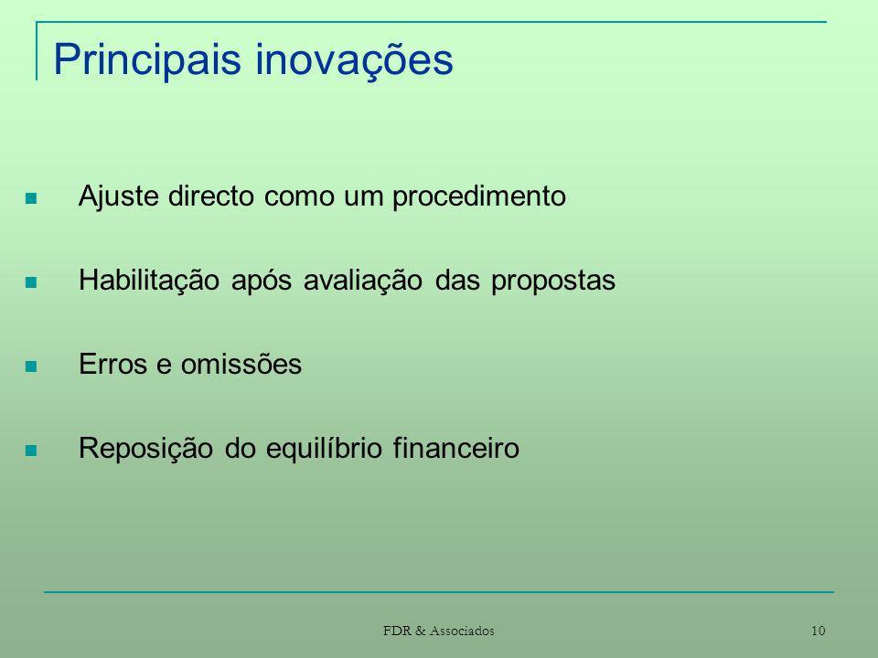 Principais inovações Ajuste directo como um procedimento