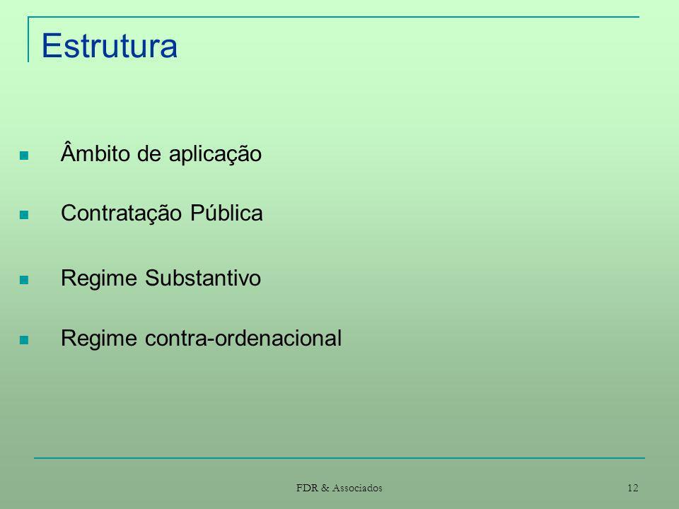 Estrutura Âmbito de aplicação Contratação Pública Regime Substantivo