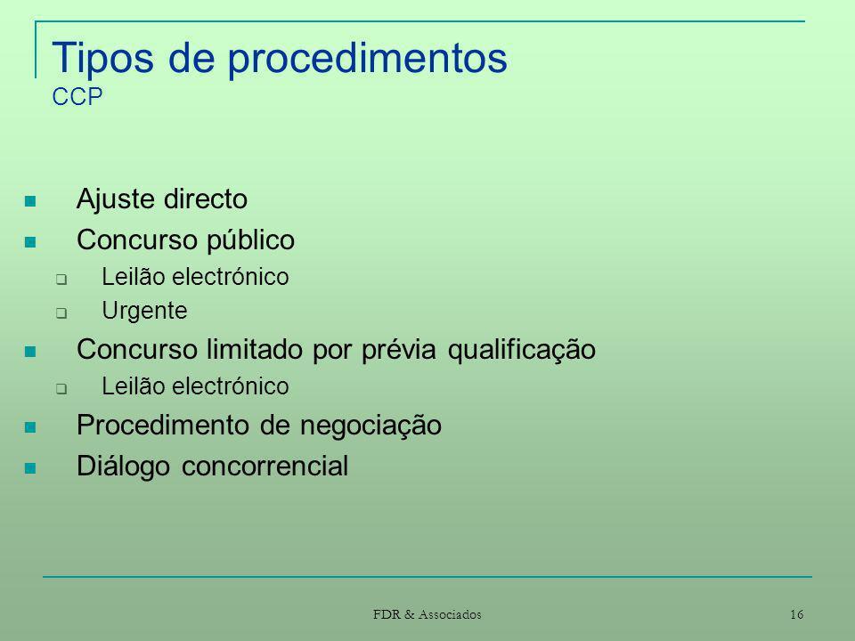 Tipos de procedimentos CCP