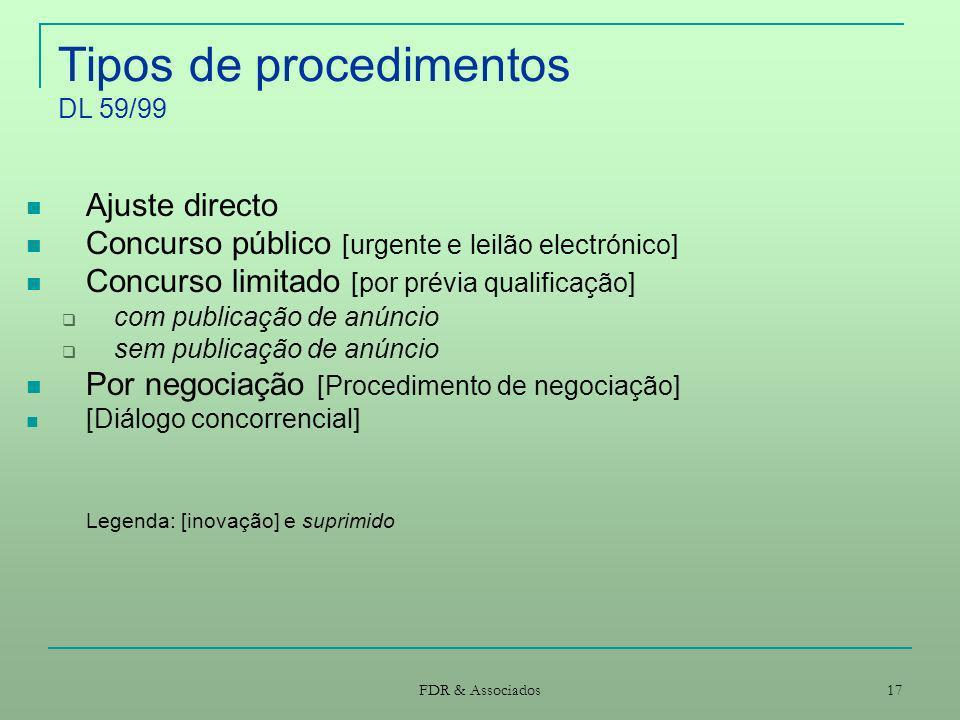 Tipos de procedimentos DL 59/99