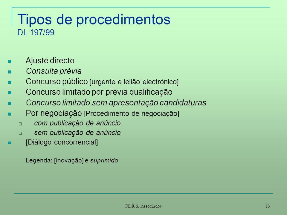 Tipos de procedimentos DL 197/99