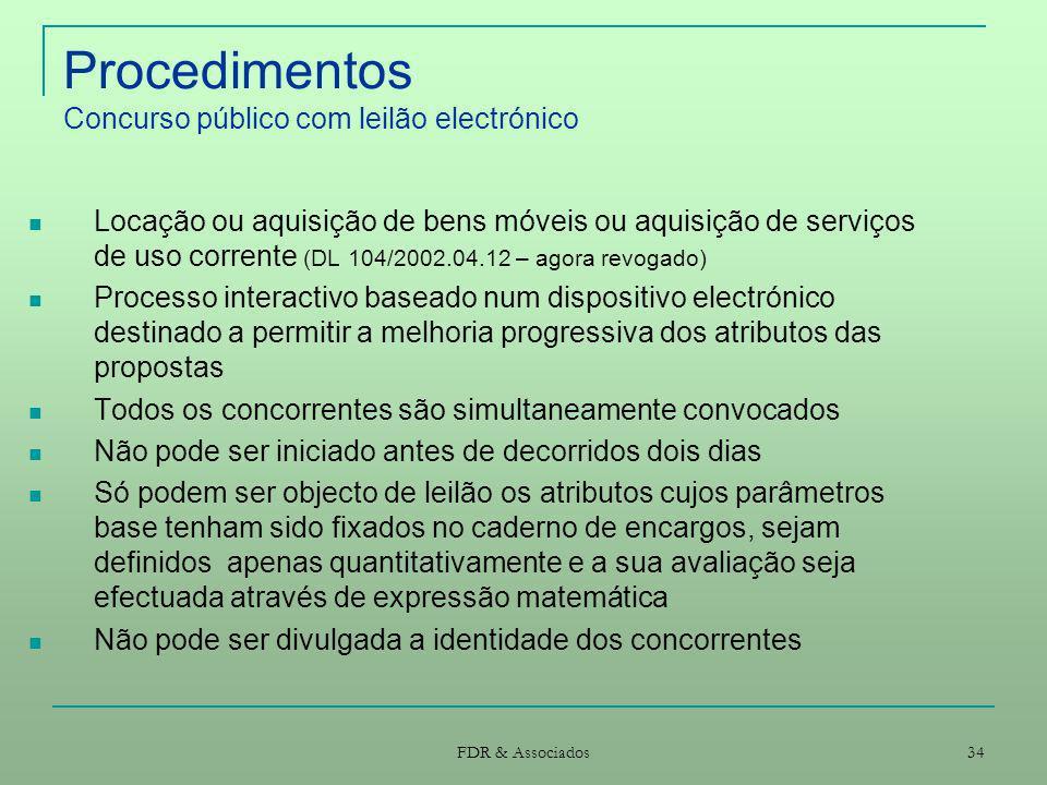 Procedimentos Concurso público com leilão electrónico