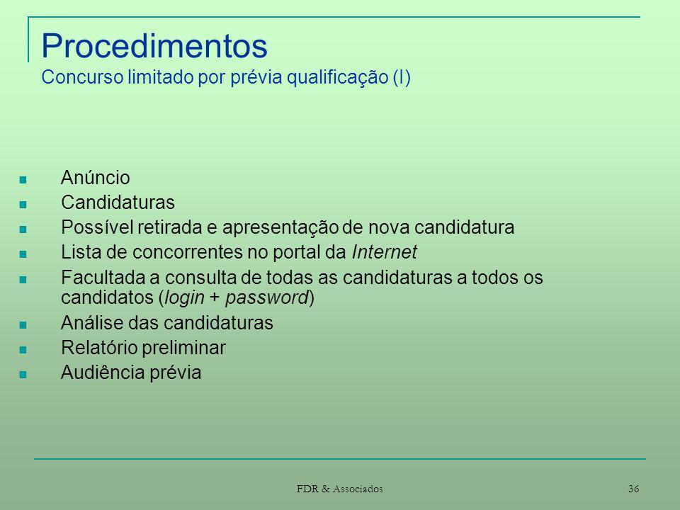 Procedimentos Concurso limitado por prévia qualificação (I)
