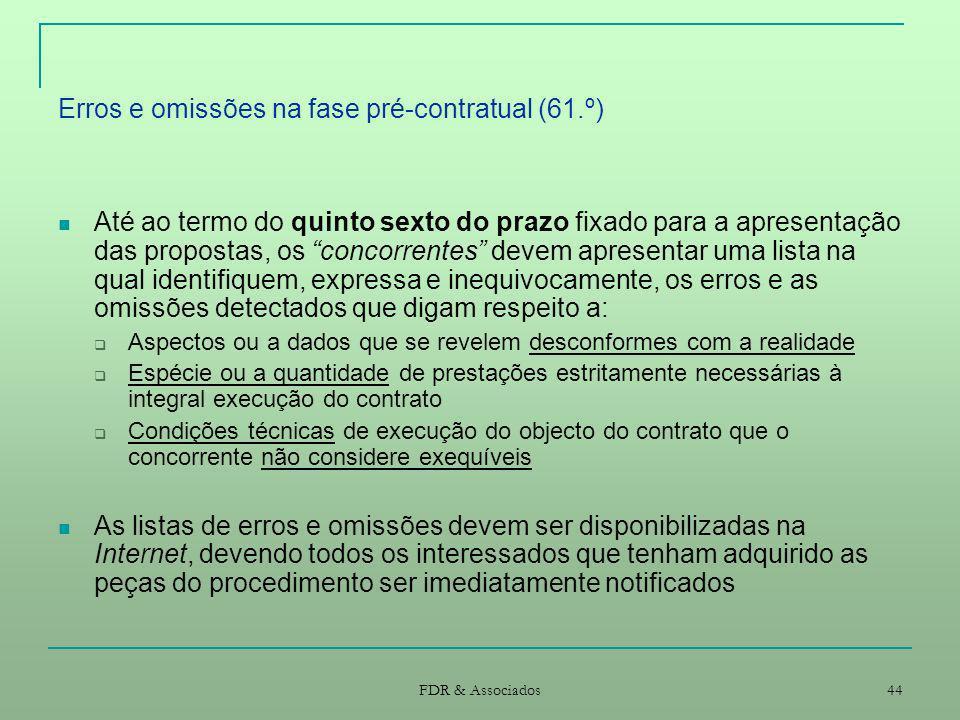Erros e omissões na fase pré-contratual (61.º)