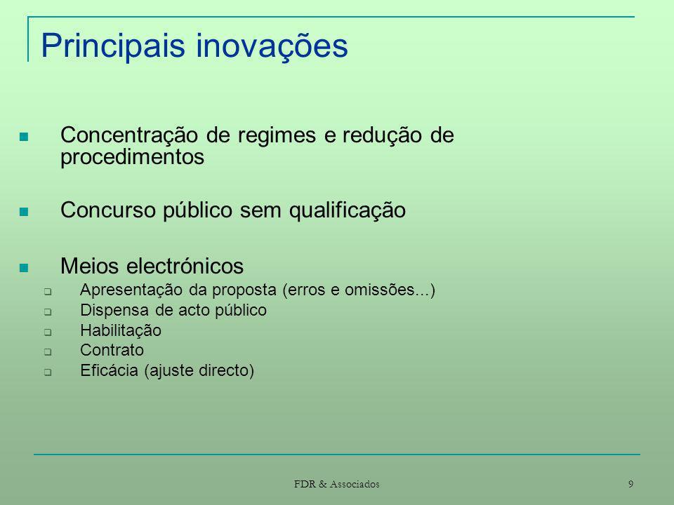 Principais inovações Concentração de regimes e redução de procedimentos. Concurso público sem qualificação.