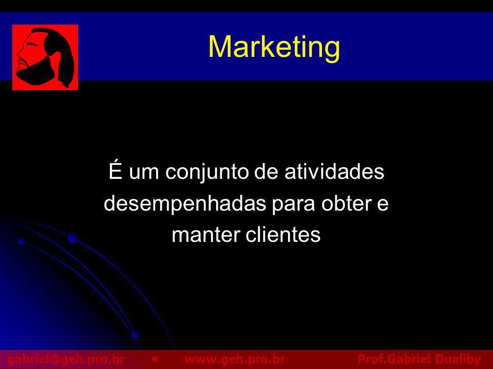Marketing É um conjunto de atividades desempenhadas para obter e
