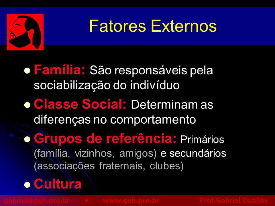 Fatores Externos Família: São responsáveis pela sociabilização do indivíduo. Classe Social: Determinam as diferenças no comportamento.