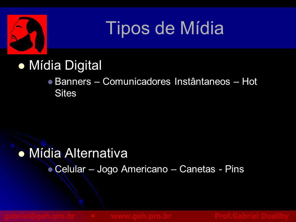 Tipos de Mídia Mídia Digital Mídia Alternativa