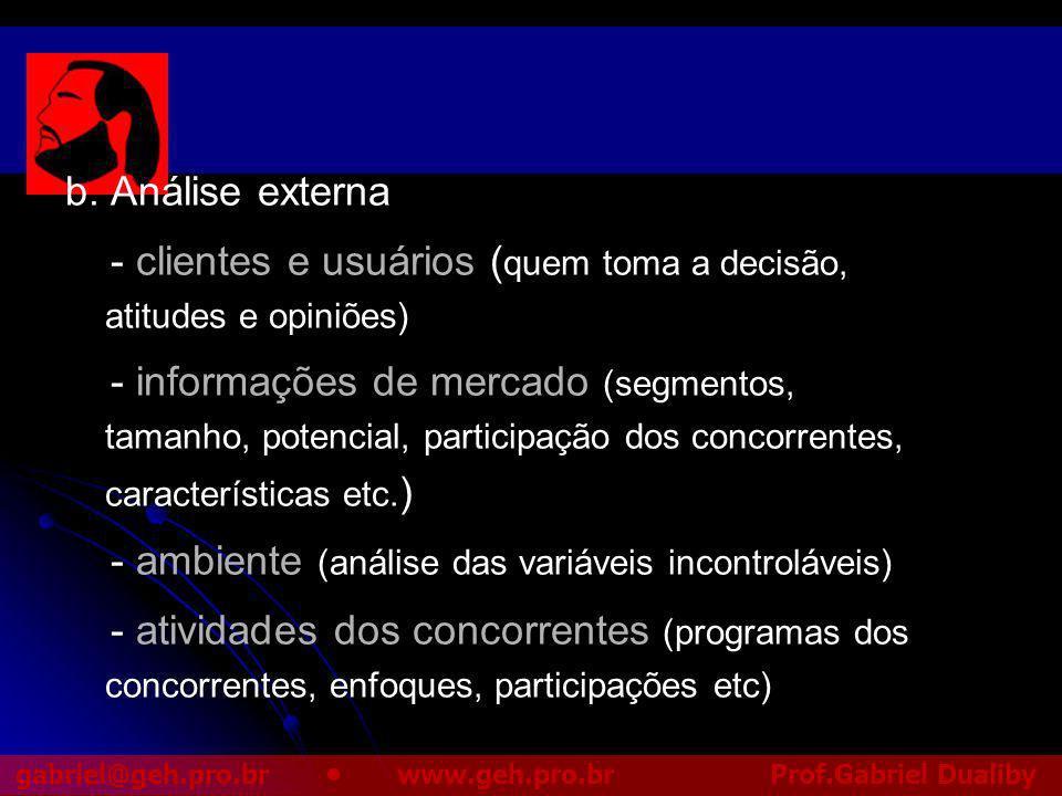b. Análise externa - clientes e usuários (quem toma a decisão, atitudes e opiniões)