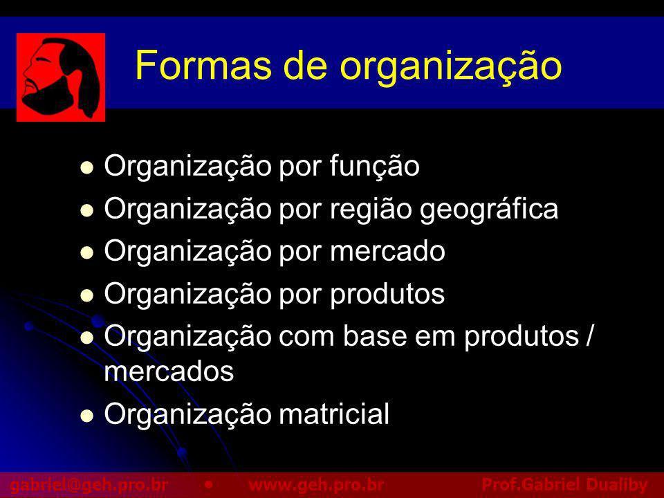 Formas de organização Organização por função