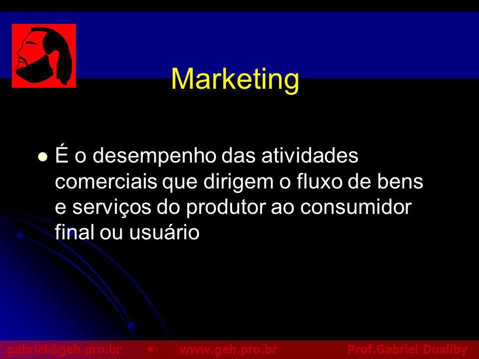 Marketing É o desempenho das atividades comerciais que dirigem o fluxo de bens e serviços do produtor ao consumidor final ou usuário.
