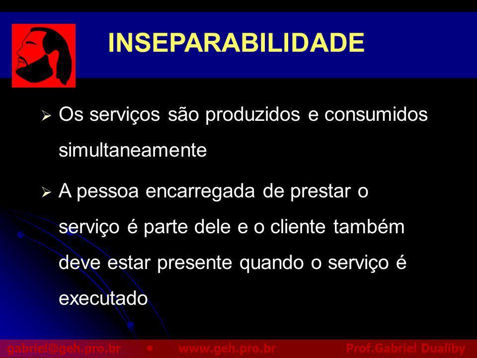 INSEPARABILIDADE Os serviços são produzidos e consumidos simultaneamente.