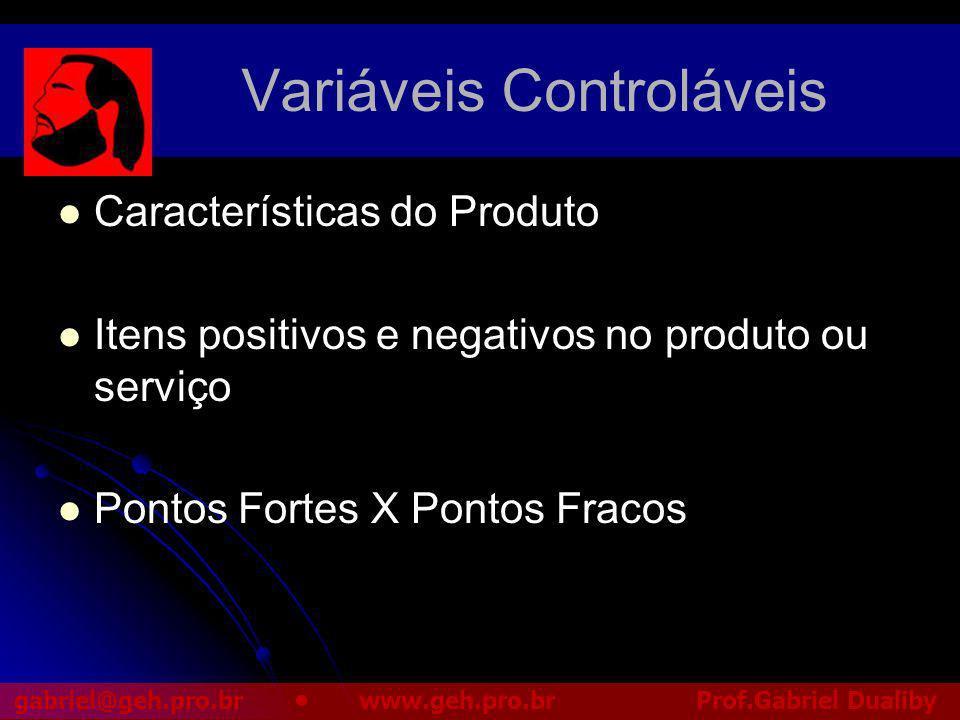 Variáveis Controláveis