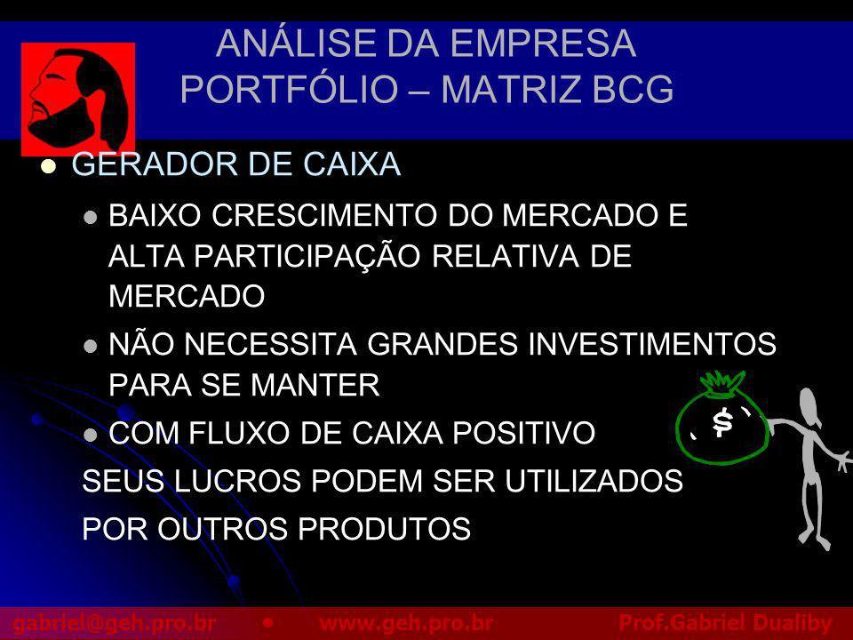 ANÁLISE DA EMPRESA PORTFÓLIO – MATRIZ BCG