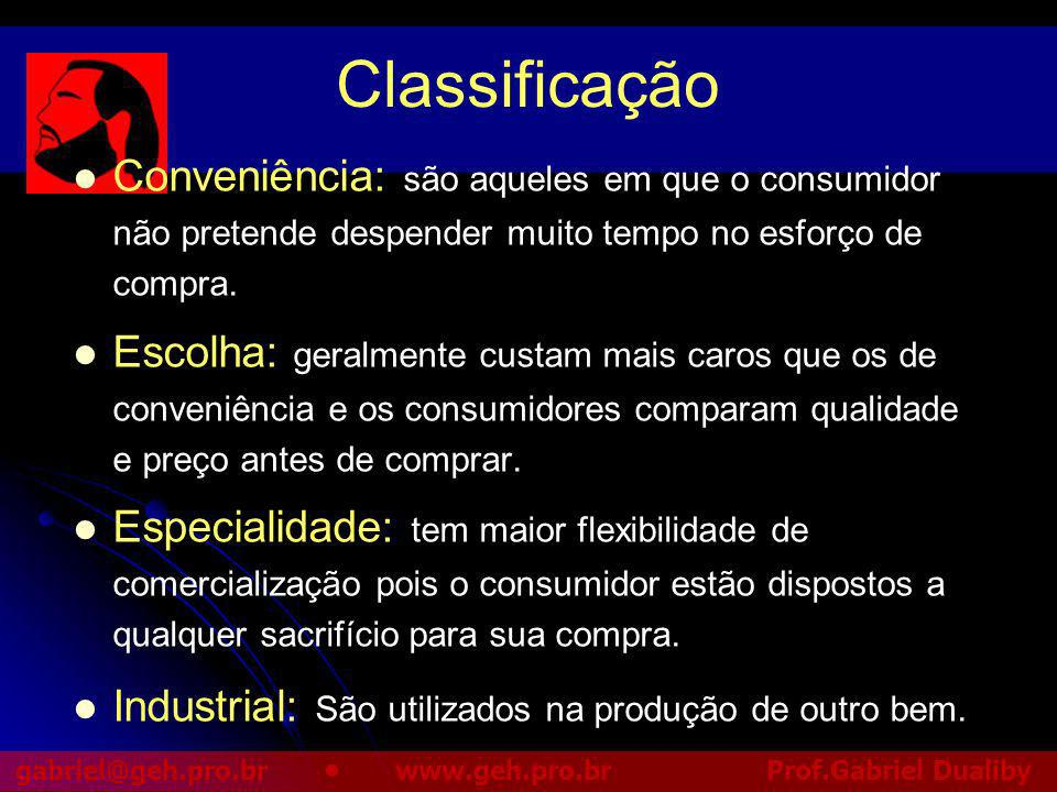 Classificação Conveniência: são aqueles em que o consumidor não pretende despender muito tempo no esforço de compra.