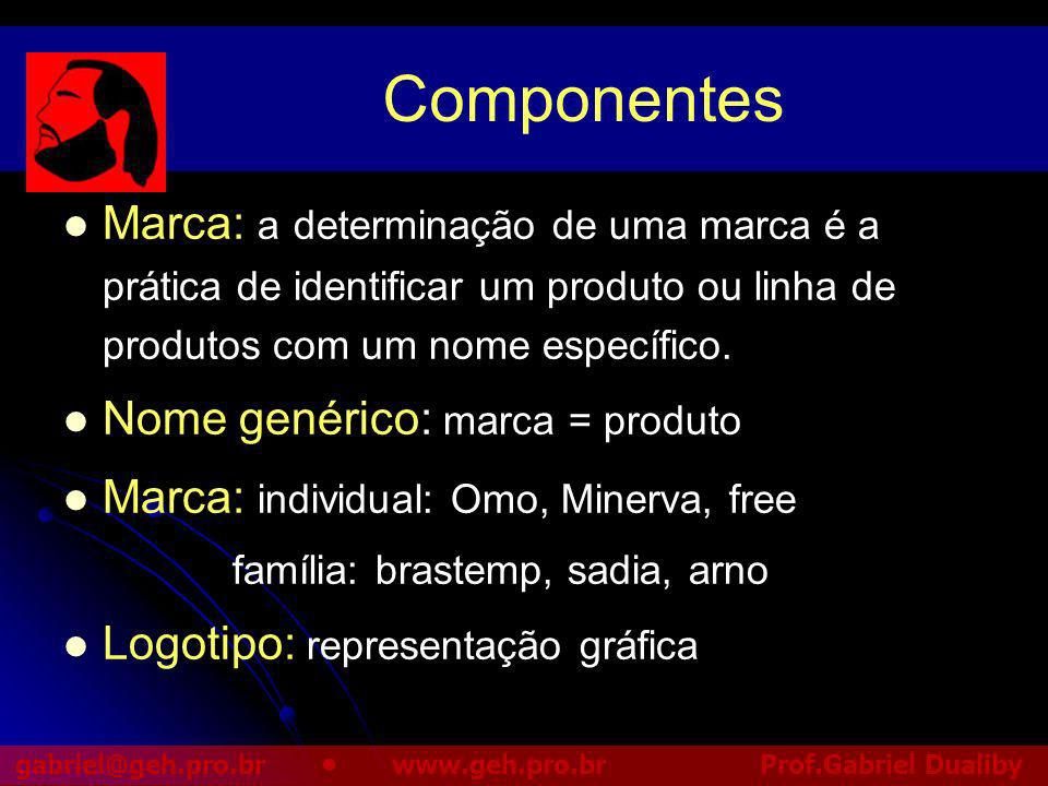 Componentes Marca: a determinação de uma marca é a prática de identificar um produto ou linha de produtos com um nome específico.