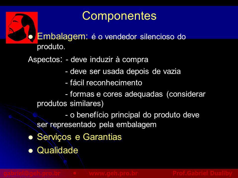 Componentes Embalagem: é o vendedor silencioso do produto.