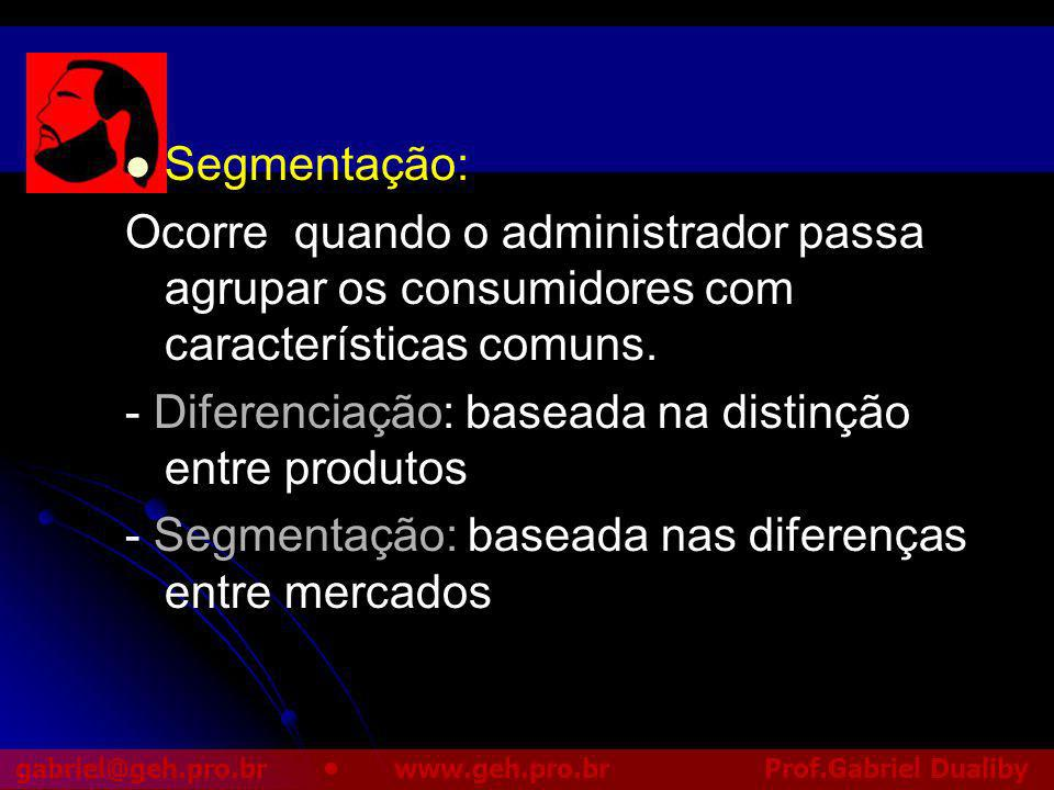 Segmentação: Ocorre quando o administrador passa agrupar os consumidores com características comuns.