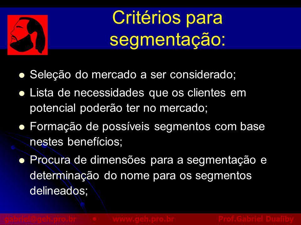 Critérios para segmentação: