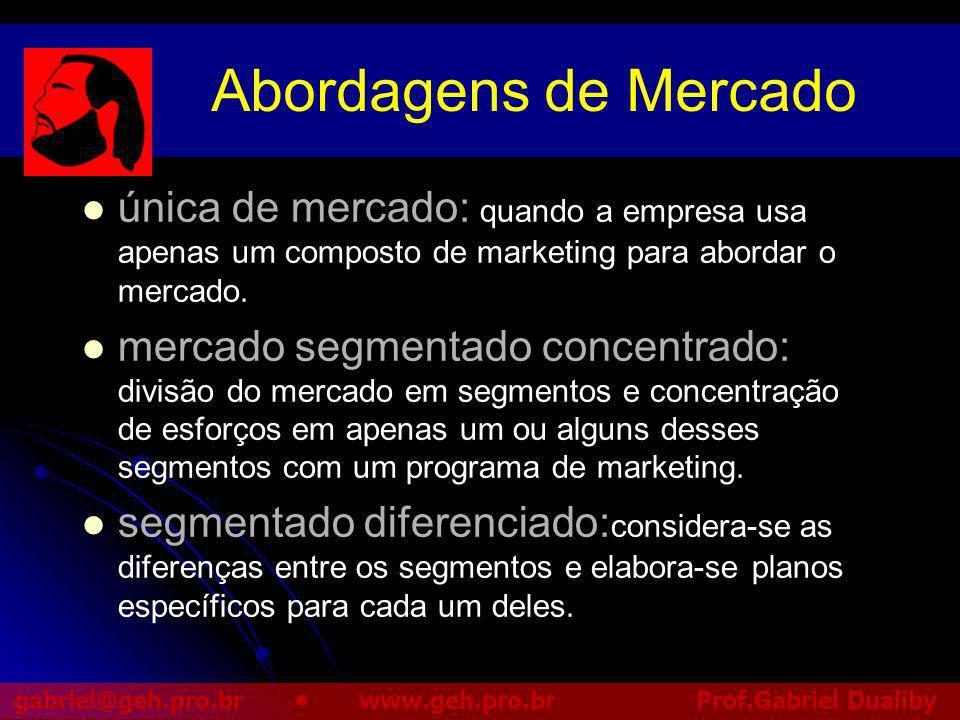 Abordagens de Mercado única de mercado: quando a empresa usa apenas um composto de marketing para abordar o mercado.