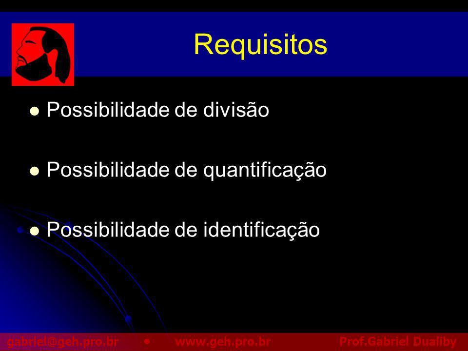 Requisitos Possibilidade de divisão Possibilidade de quantificação
